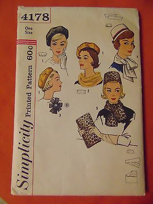 Simplicity Vintage 1960s Sewing Pattern Hats Millinery Pillbox Beret & Bag #4178