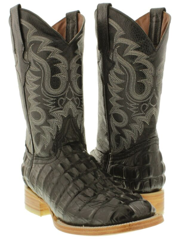 Mens, black, crocodile, alligator, tail, rodeo, work, square, toe, cowboy, boots, TWest