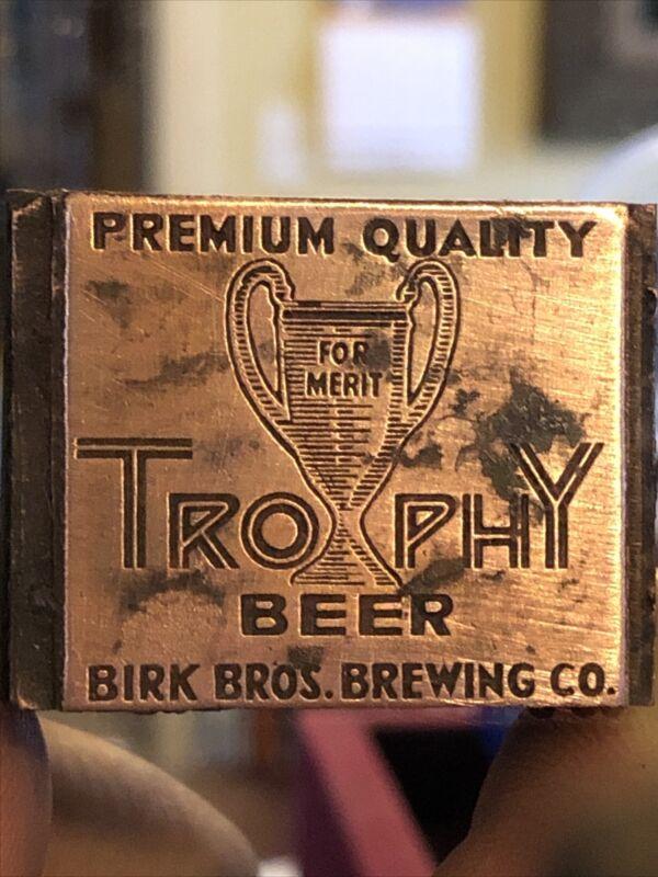 """Vintage Wood & Metal Metal Printing Print Block Stamps, Trophy Beer """""""