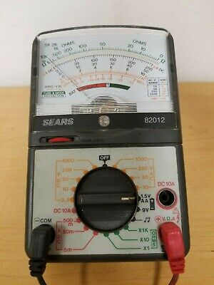 Sears Model 82012 Multi-meter Analog Tester - Vgc - Free Same Day Shipn