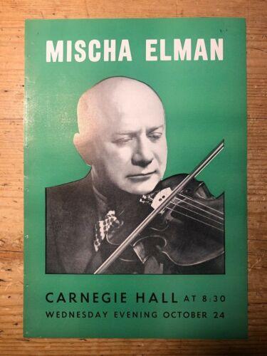 Mischa Elman Violin Recital 1945 Concert programme Carnegie Hall