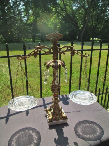 Vintage Gold Spelter Baroque Scale SCALES OF JUSTICE Eapg Glass Plates & Prisms