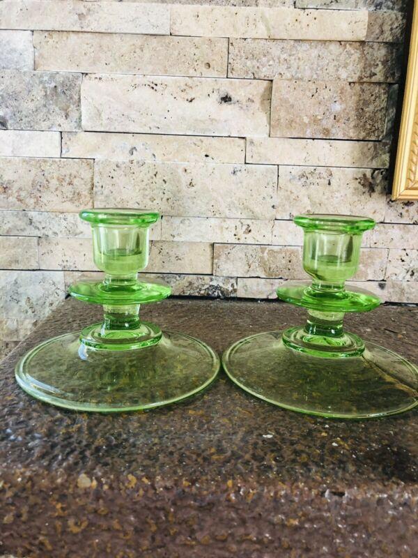 Vintage Uranium Vaseline Green Depression Glass Candle Stick Holders Set of 2