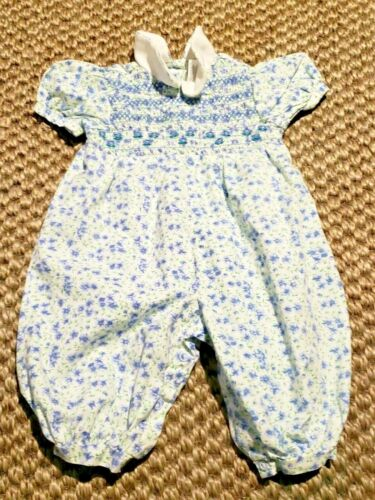 Rose cottage Baby Girl Smocked Bubble Romper Embroidered Flowers 3-6 months