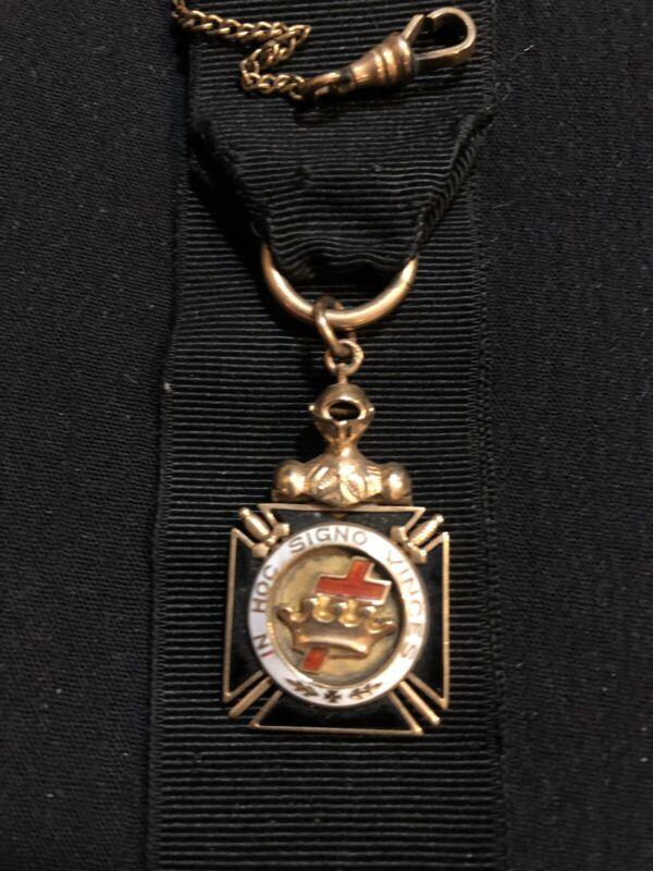 14K Masonic Medal w/ Ribbon Antique