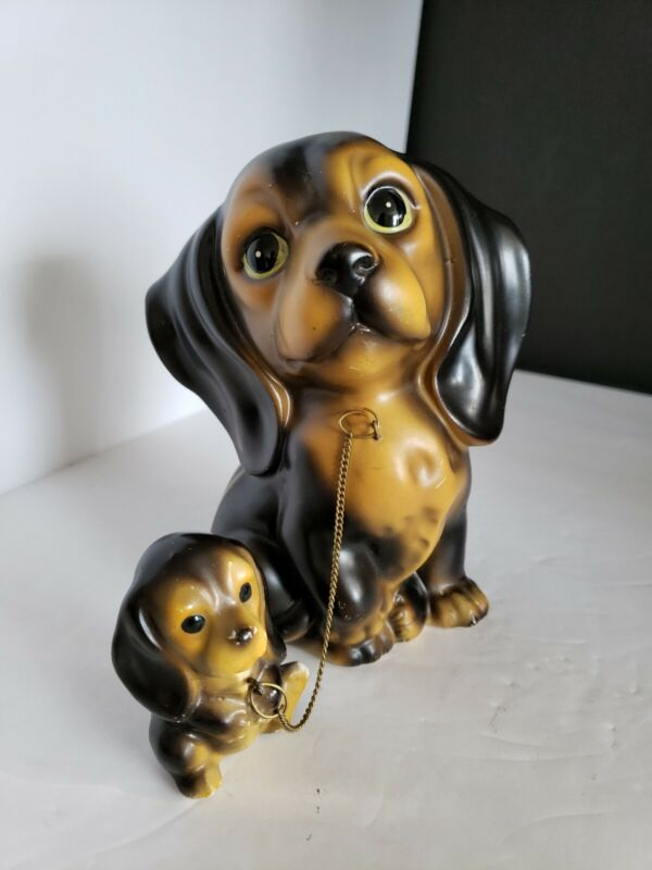 Original Vintage Ceramic Dog Mother with Her Pup made in japan