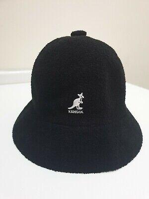 New Authentic Kangol Boucle Bermuda Bucket Hat Casual Black White Logo S/M