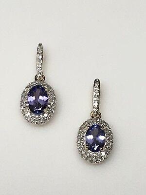 - New 10K Yellow Gold Oval Shape Tanzanite and Pave Set 0.33ctw Diamond Earrings