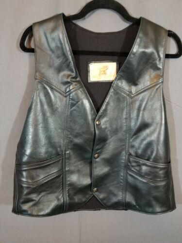 Vintage~SZ M ~Black~Genuine Leather vest~Hecho en Mexico~snap up vest~/lined