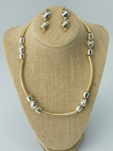 VTG DOBBS sterling silver dual tone structured modernist necklace earrings set