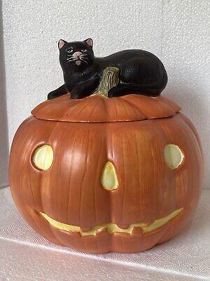 Sakura Halloween Pumpkin Hollow Cookie Jar With Black Cat David Carter Brown