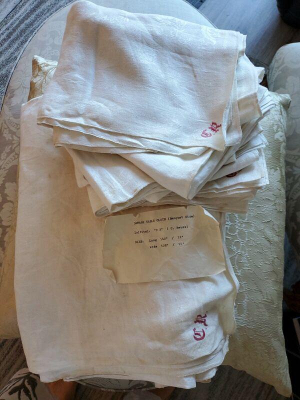 """Antique English Banquet Tablecloth 11ft& 6 Linen Damask Lapkin 30""""x36"""" Napkins"""