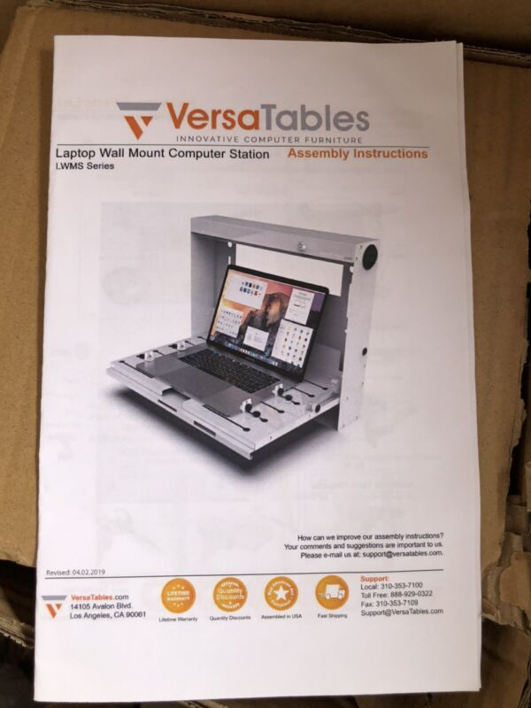 "Versa Tables LWMS Laptop Wall-Mount Computer Station   ""FREE SHIPING"""