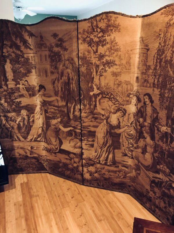 Antique Four-Paneled Tapestry Screen Partition 4 Panel Tapestry Room Divider