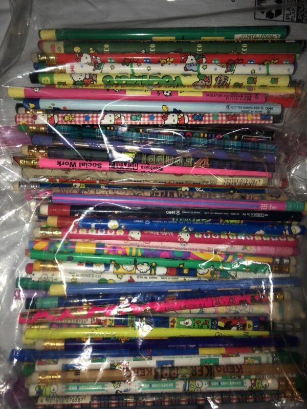 Vintage Sanrio Pencils Random Lot Of 5 Keroppi Pochacco Hello Kitty 90s