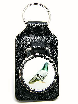PIGEON RACING FANCIER BIRD BIRDS DESIGN BADGE QUALITY LEATHER KEYRING FOB GIFT