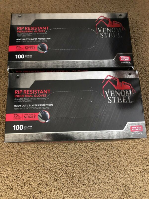 Lot of 2 - Venom Steel Rip Resistant Nitrile gloves 100ct.  2 boxes