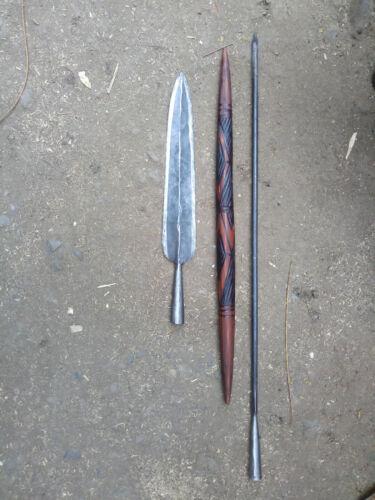"""60"""" Original Functional Samburu Spear Kenya Africa Wood Steel Cowhide Handmade"""