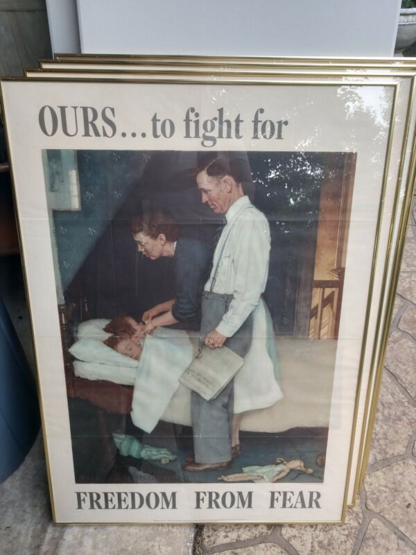 """""""The Four Freedoms"""" Norman Rockwell (4) Original Posters (40""""x56"""") FRAMED"""