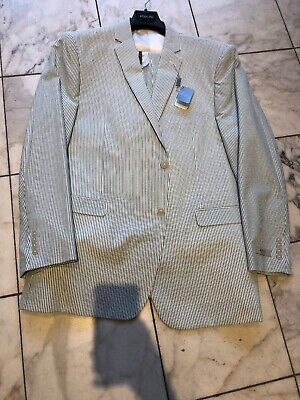 NWT ADOLFO Mens Two Button Nested Seersucker Suit Green/White Size 50L - Mens Seersucker Suits