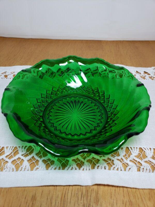 "Vintage Anchor Hocking Emerald Green Ruffled 6.5"" BOWL"