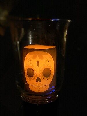 Hand Decorated PILLAR CANDLE 18x6.5 DAY OF THE DEAD SUGAR SKULL pink /& Yellow