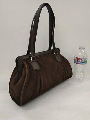 - Ann Taylor Loft Rich Chocolate Brown Suede Leather Handbag Excellent Condition