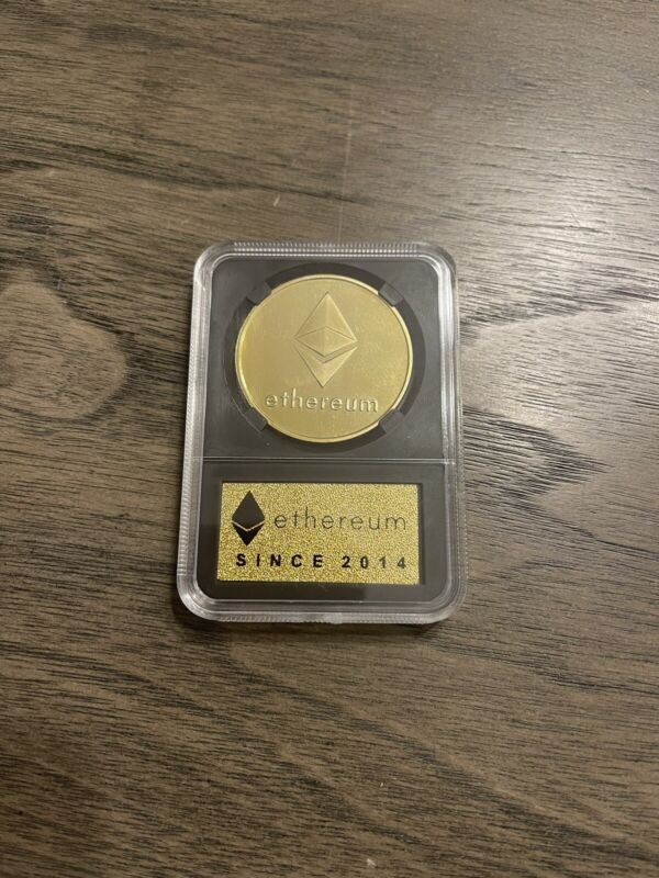 Etherium Physical Coin Crypto Currency Gold Plastic Holder With Creation Date