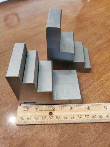 Pair of Machinist Multi Step Set Up Blocks Toolmaker Tools Precision