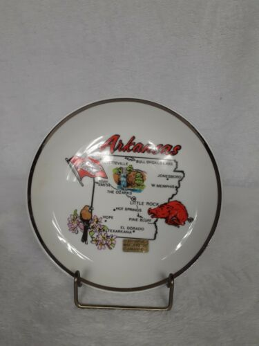 Arkansas Souvenir Decorative Plate Map State Booger Hollow White Red