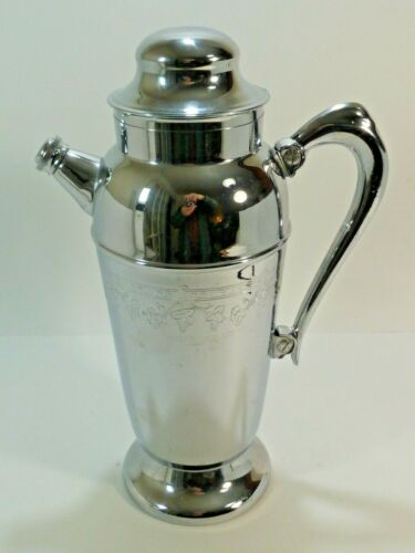 SILVERTONE CHROME Vintage Cocktail Pitcher with Handle