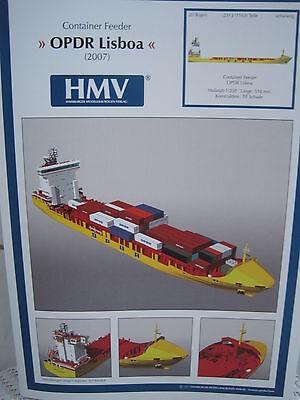 Container Feeder OPDR Lisboa Schiff Kartonbausatz NEU*Bastelbogen Kartonmodell