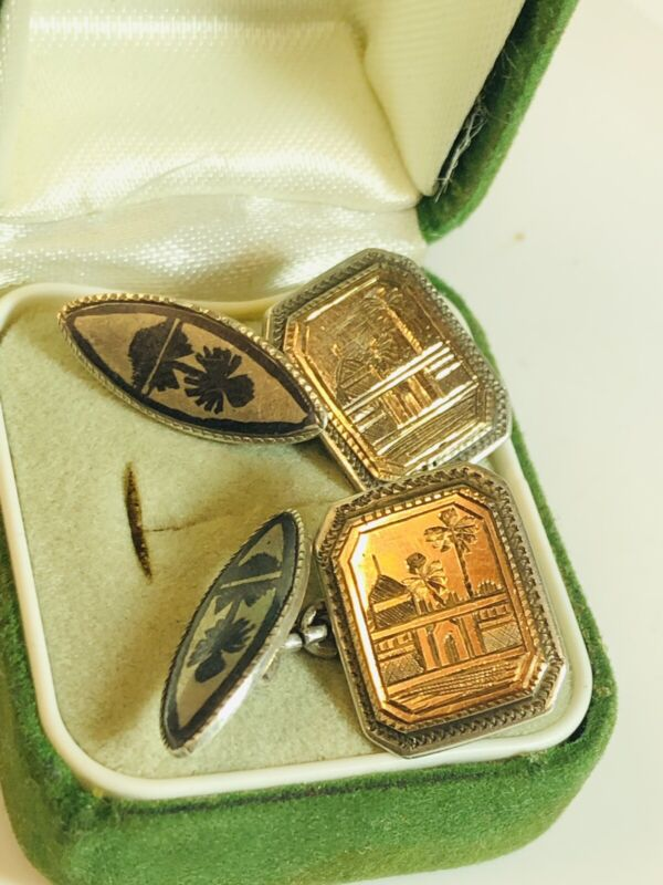 Art Deco Pair Of Silver Gilt Niello Basra Marsh Arab Cufflinks
