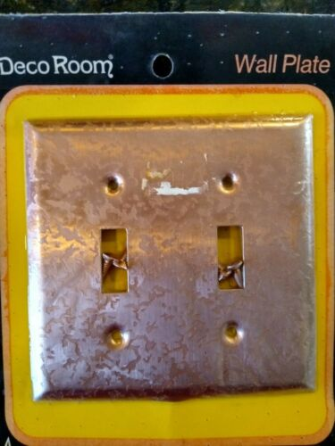 Vintage American Tack & Hardware Hammered Copper Double Switch Plate Cover~NOS