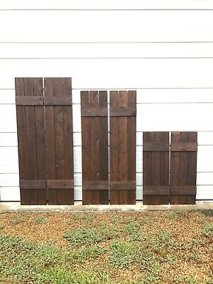 BEST SELLER***Set of 2 Quality Custom Wood Stained Exterior Shutters Custom Exterior Wood Shutters