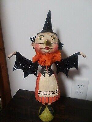 "Debra Schoch 15.5"" Witch Bat Girl Halloween..Paper Mache..Bethany Lowe Retired"