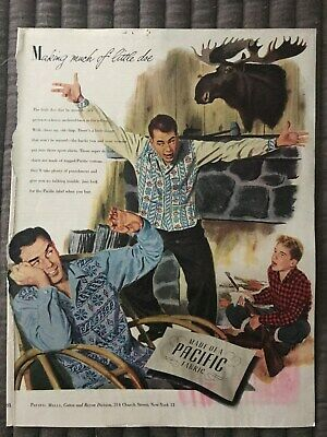 Pacific Fabrics~Making Much Of Little Doe~1947 Vintage Print AD A93
