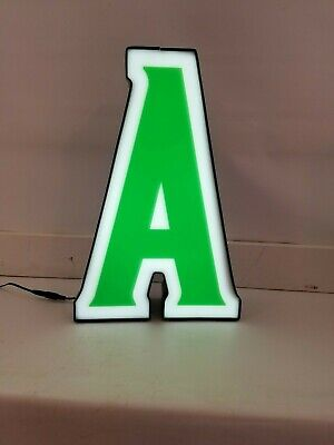 Letter A Retro A Marquee Channel Letter A Vintage Sign Green White Led