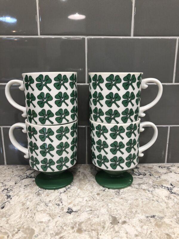 """RARE"" Vintage Holt Howard Shamrock Irish Pedestal Coffee Mugs Set 4 Japan 1973"