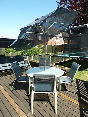 Garden Patio Furniture. Swing Bench, Table with 4 Chairs + Parasol, 2 Recliners.