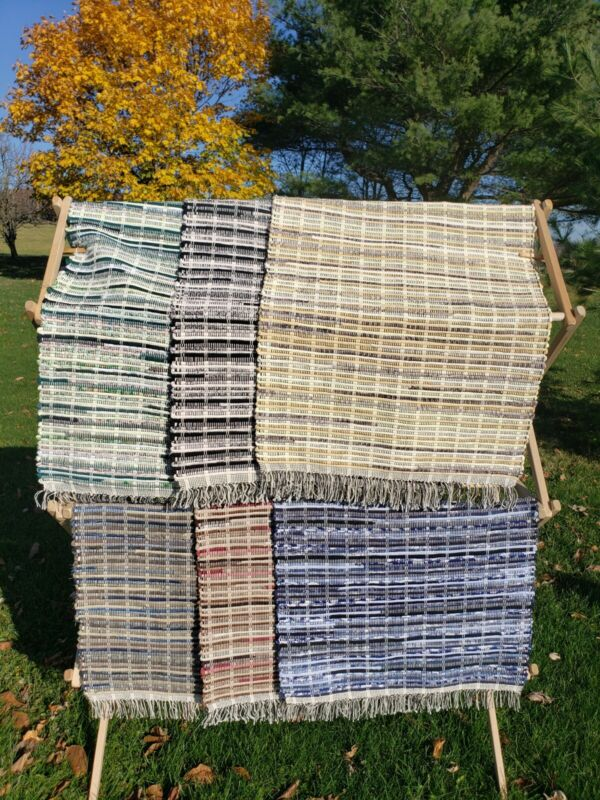 Hand Made Loom Woven Rag Rug Recycled Clothes Cotton New 25 in by Various Length