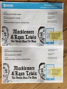 2 Tickets for MACKLEMORE AND RYAN LEWIS in Sydney! Frenchs Forest Warringah Area Preview