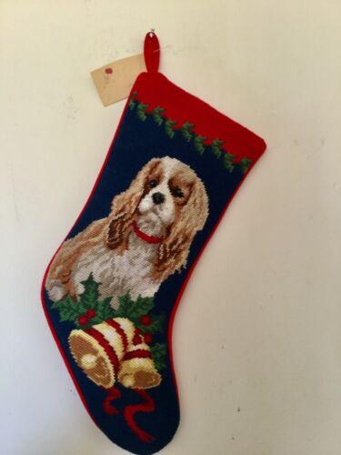 Cavalier King Charles  - Blenheim needlepoint stocking- not a kit