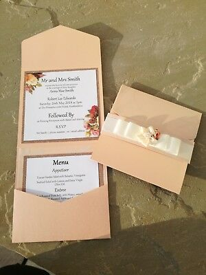 Menu Card Wedding Invitations (10 x PEACH FLORAL WEDDING INVITATIONS RECEPTION MENU OR ORDER OF SERVICE CARDS  )