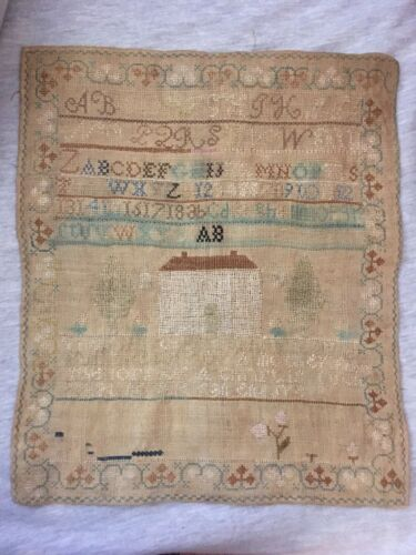 Early 19th Century Verse & Alphabet Sampler with House, Silk on Linen