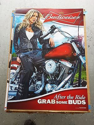 BRAND NEW Budweiser Beer Hot Blonde Girl Harley Sturgis Motorcycle Poster