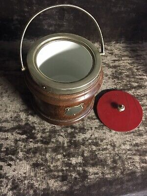 Large Oak Caddy Red Leather Lid Porcelain Insert