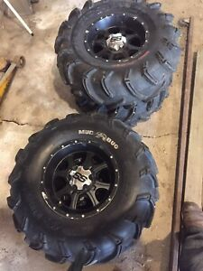 "27"" Mud bug atv tires and 12"" can am rims"