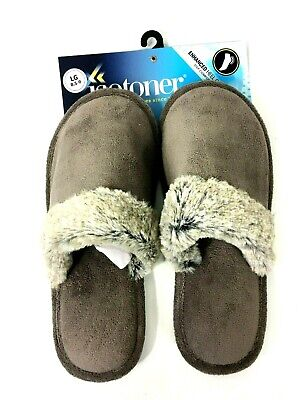 Isotoner Womens Microterry Spa Slipper Enhanced Heel Cushion Large 8.5-9 Taupe
