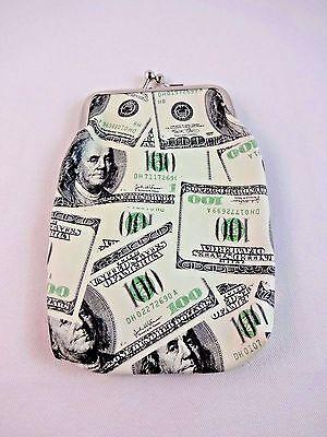 Change Purse Extra Long $100 Dollar Bill Design Coin Vinyl  100 Dollar Bill Design
